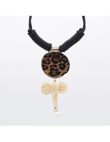 Leopard print, elephant pendant necklace with pearls