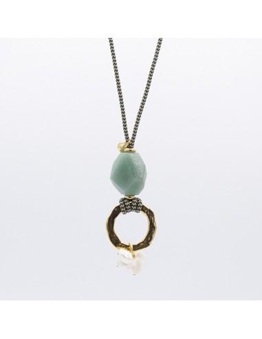Collar piedra facetada y perlas
