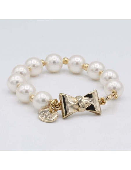 Pearls and bow bracelet