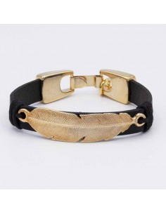 Leather bracelet with gold feather