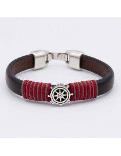 LEATHER BRACELET WITH FLAG AND RUDDER