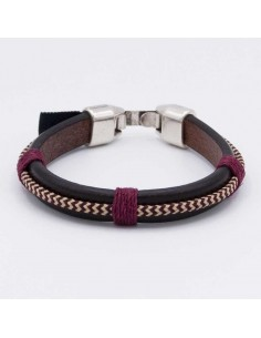 Leather-cord combined bracelet
