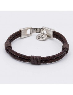 Double round braided leather bracelet