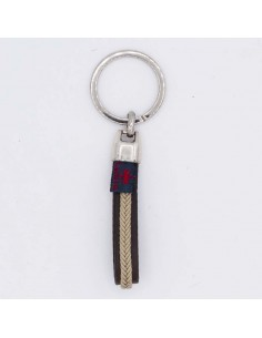 Tubular braided leather key chain