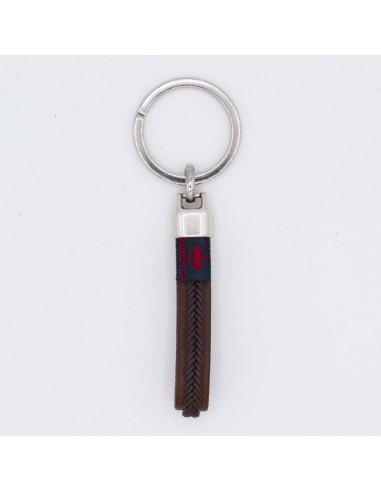 Tubular braided leather key chain
