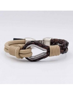 LEATHER BRACELET WITH FLAG AND ANCHOR