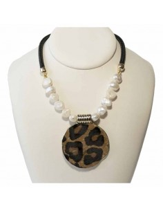 Collar Leopardo y Perlas