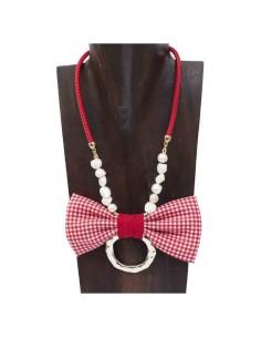 Collar cadena, perlas y lazo Vichy